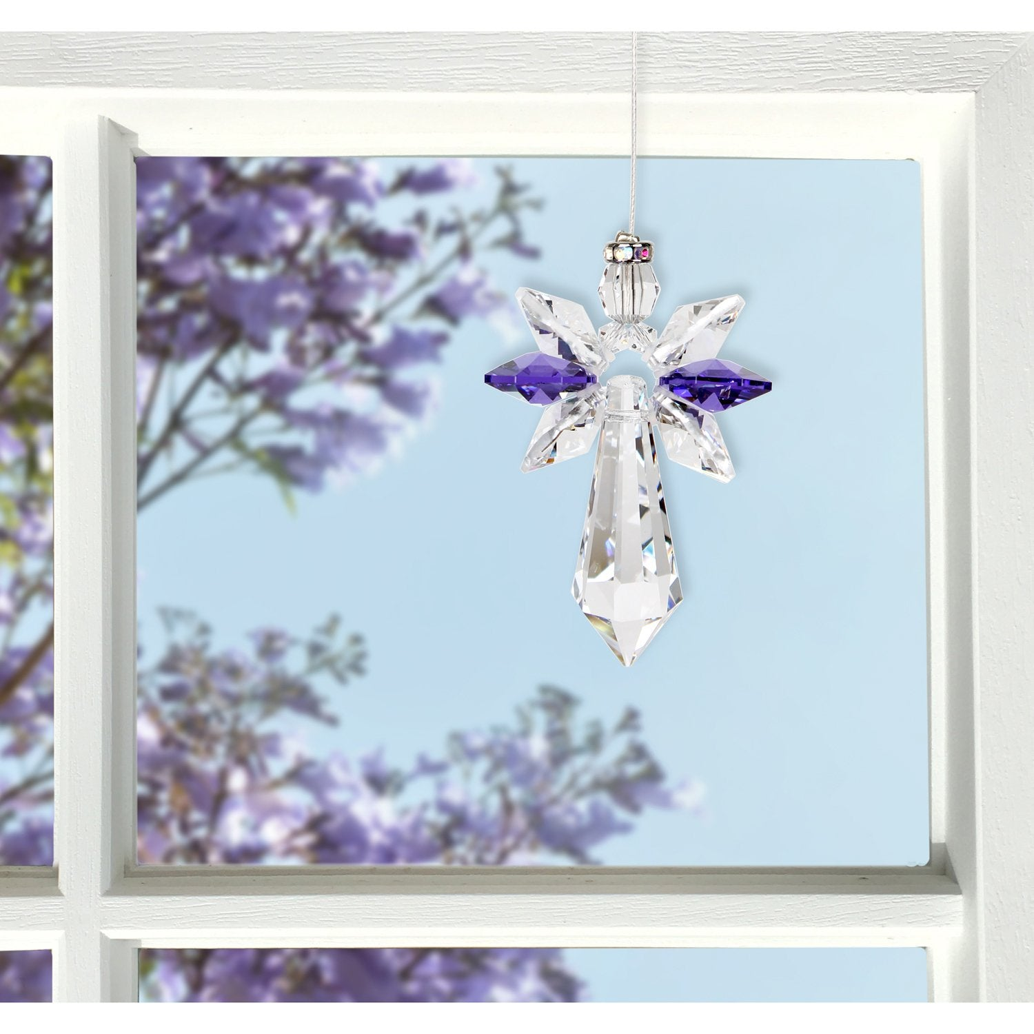Crystal Guardian Angel Suncatcher - Large, Amethyst lifestyle image
