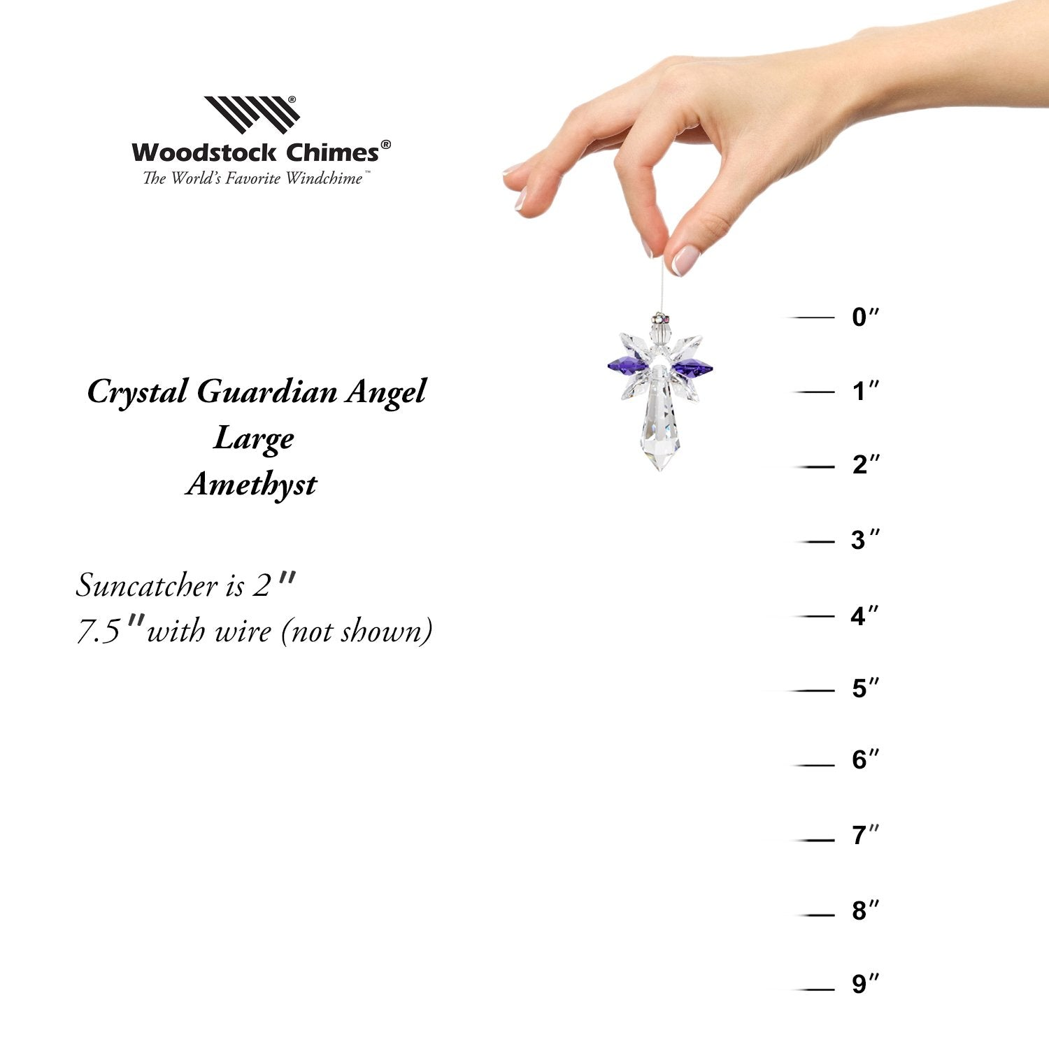 Crystal Guardian Angel Suncatcher - Large, Amethyst proportion image