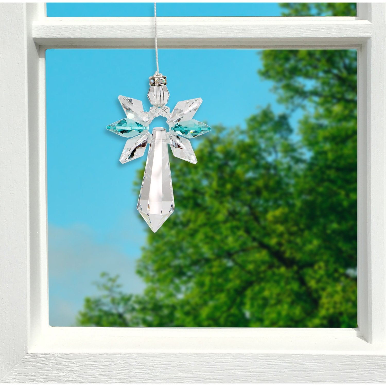 Crystal Guardian Angel Suncatcher - Large, Blue Zircon lifestyle image