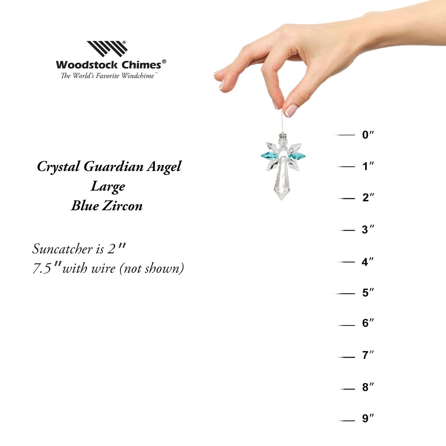 Crystal Guardian Angel Suncatcher - Large, Blue Zircon proportion image