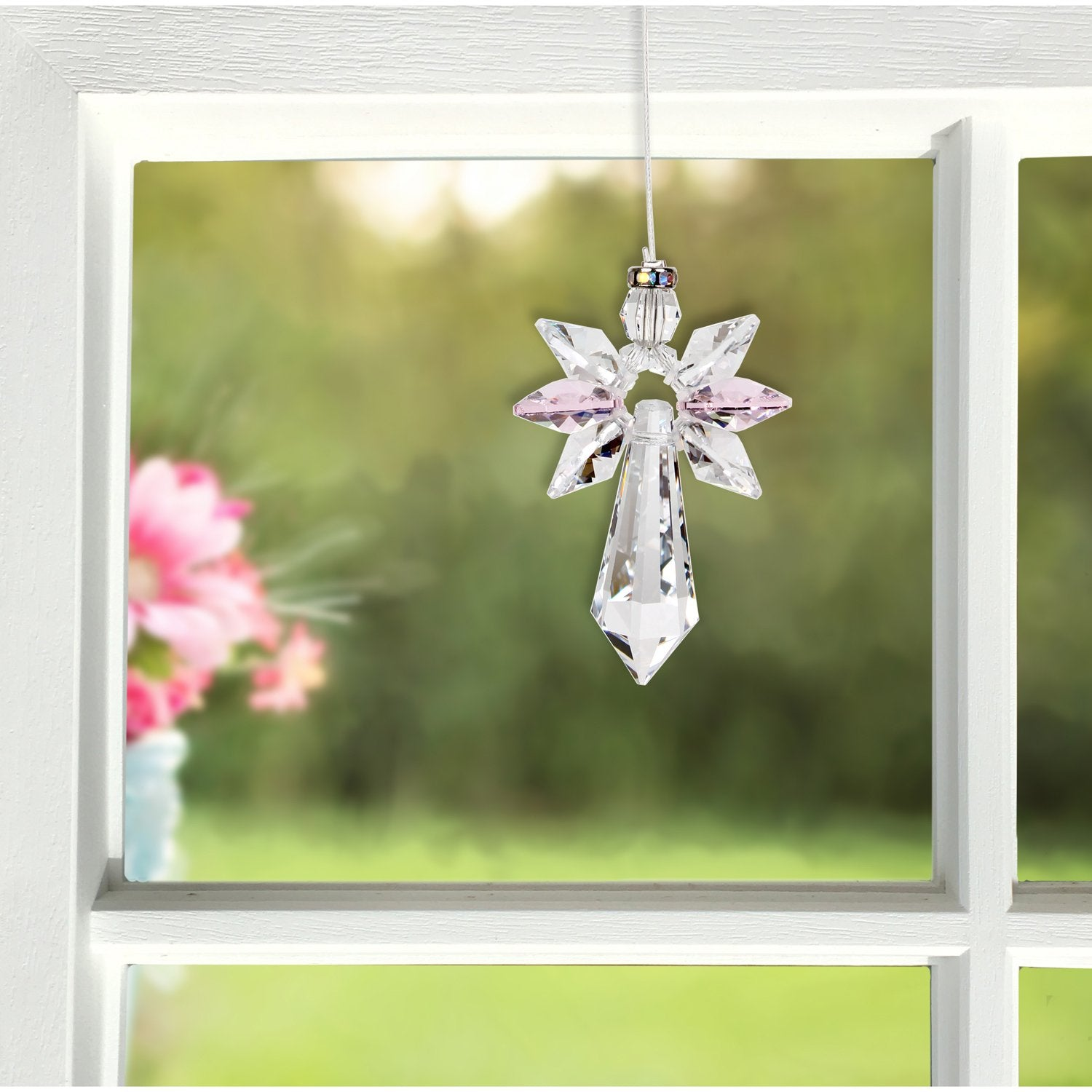 Crystal Guardian Angel Suncatcher - Large, Rose lifestyle image