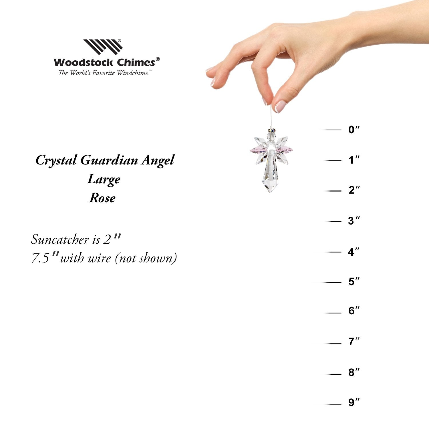 Crystal Guardian Angel Suncatcher - Large, Rose proportion image