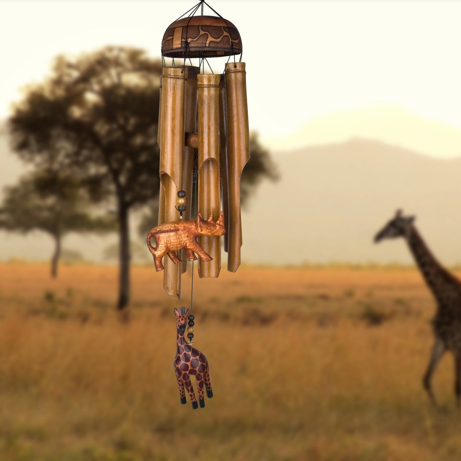 African Trio Bamboo Chime lifestyle image