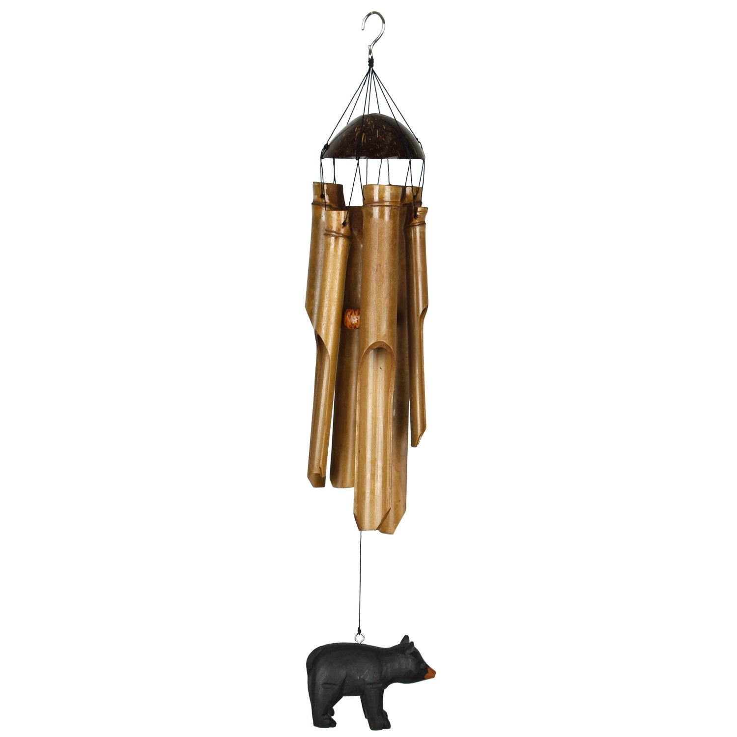 Half Coconut Bamboo Chime - Medium, Bear full product image