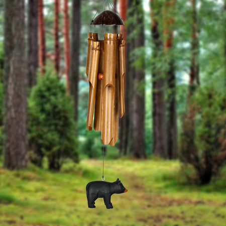 Half Coconut Bamboo Chime - Medium, Bear proportion image