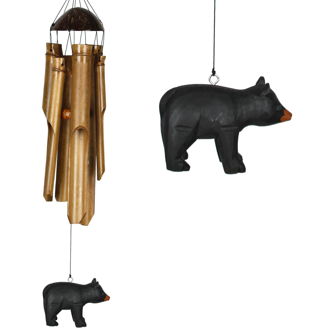 Half Coconut Bamboo Chime - Medium, Bear main image