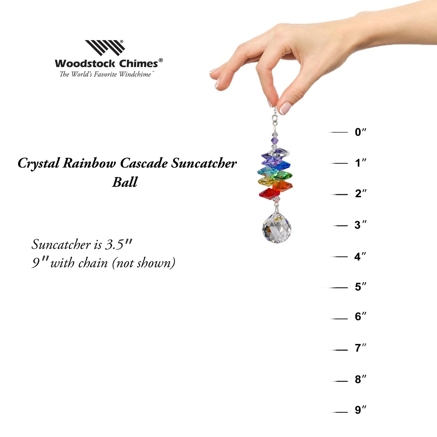 Crystal Rainbow Cascade Suncatcher - Almond proportion image