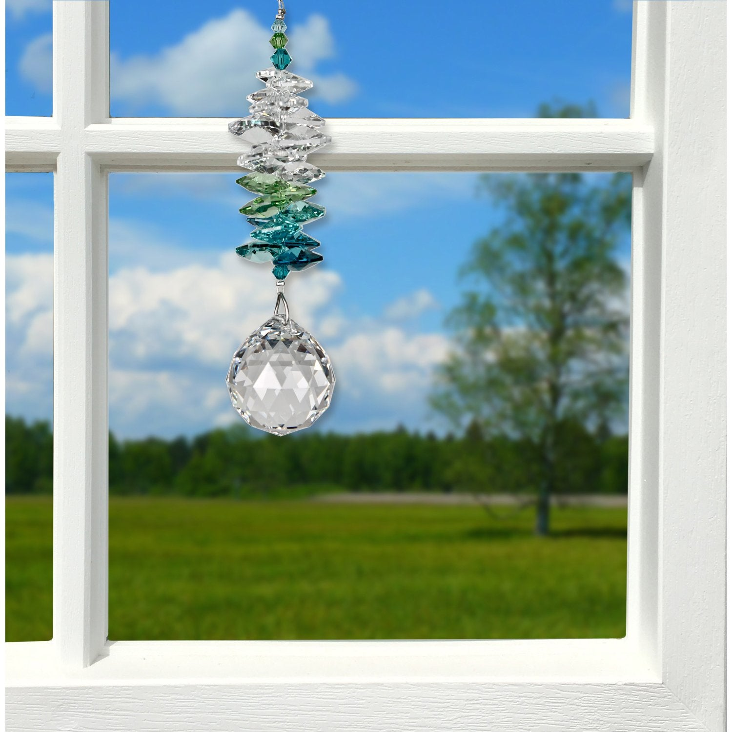 Crystal Grand Cascade Suncatcher - Green lifestyle image