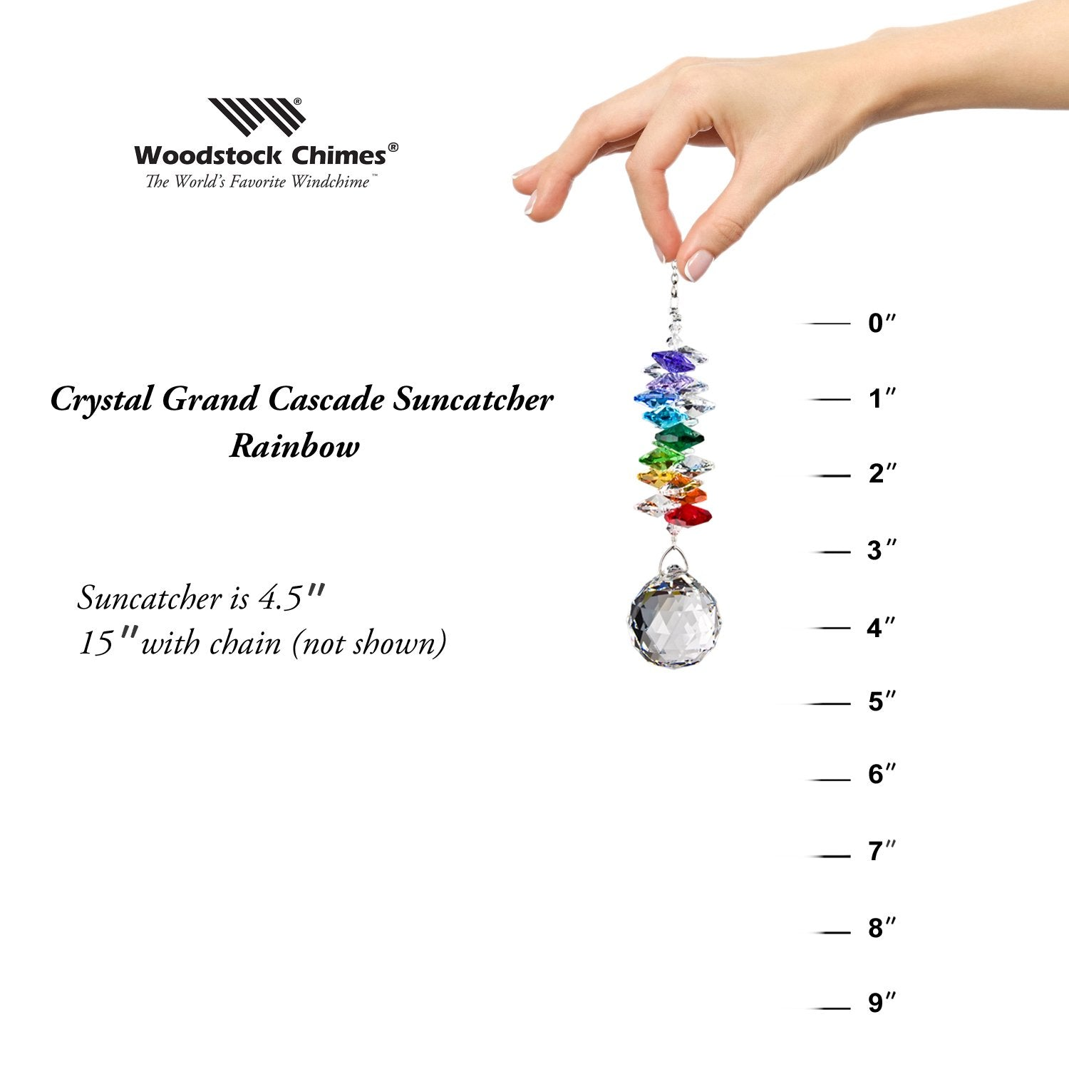 Crystal Grand Cascade Suncatcher - Rainbow proportion image