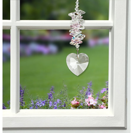 Crystal Heart Cascade Suncatcher - Rose alernate product image