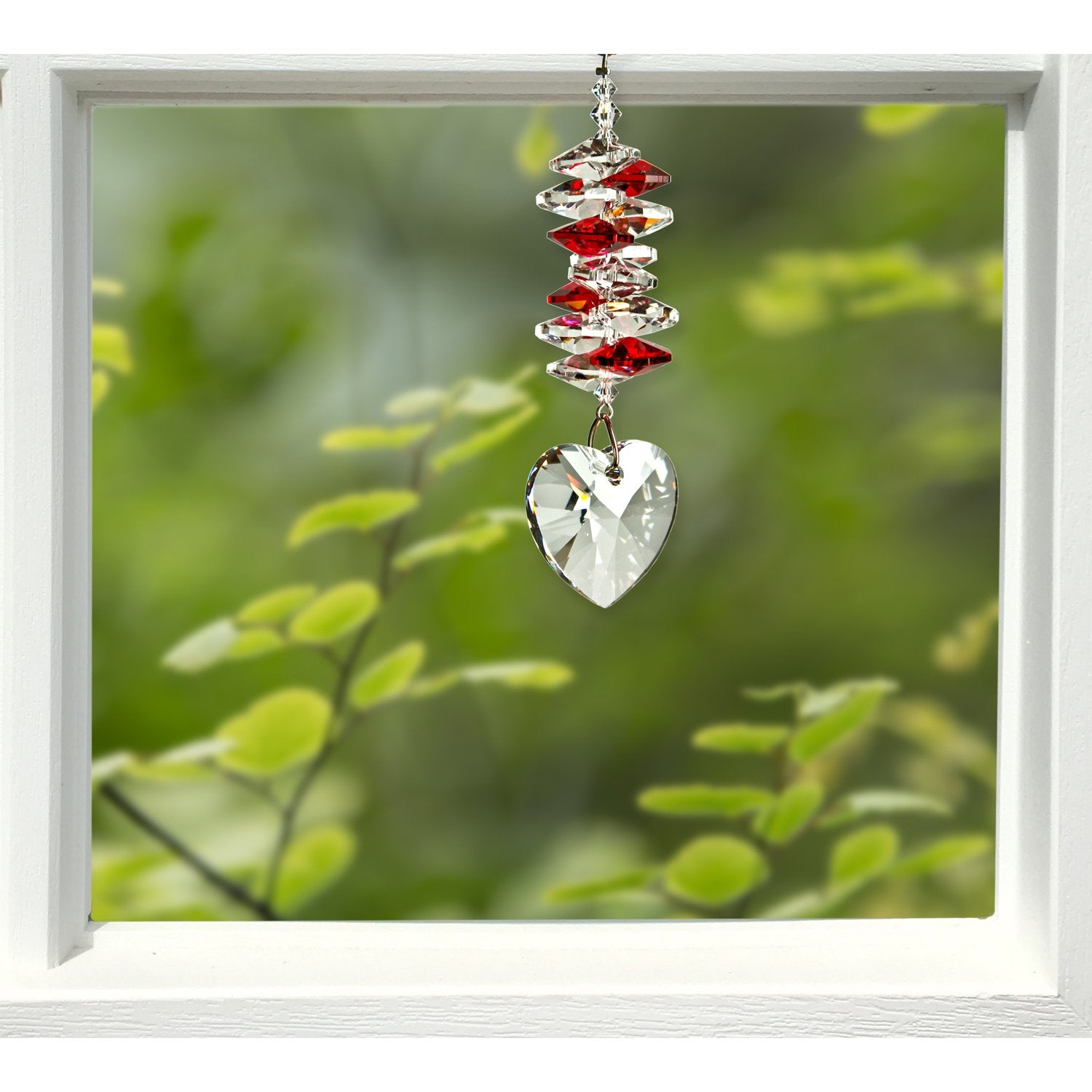 Crystal Heart Cascade Suncatcher - Ruby lifestyle image