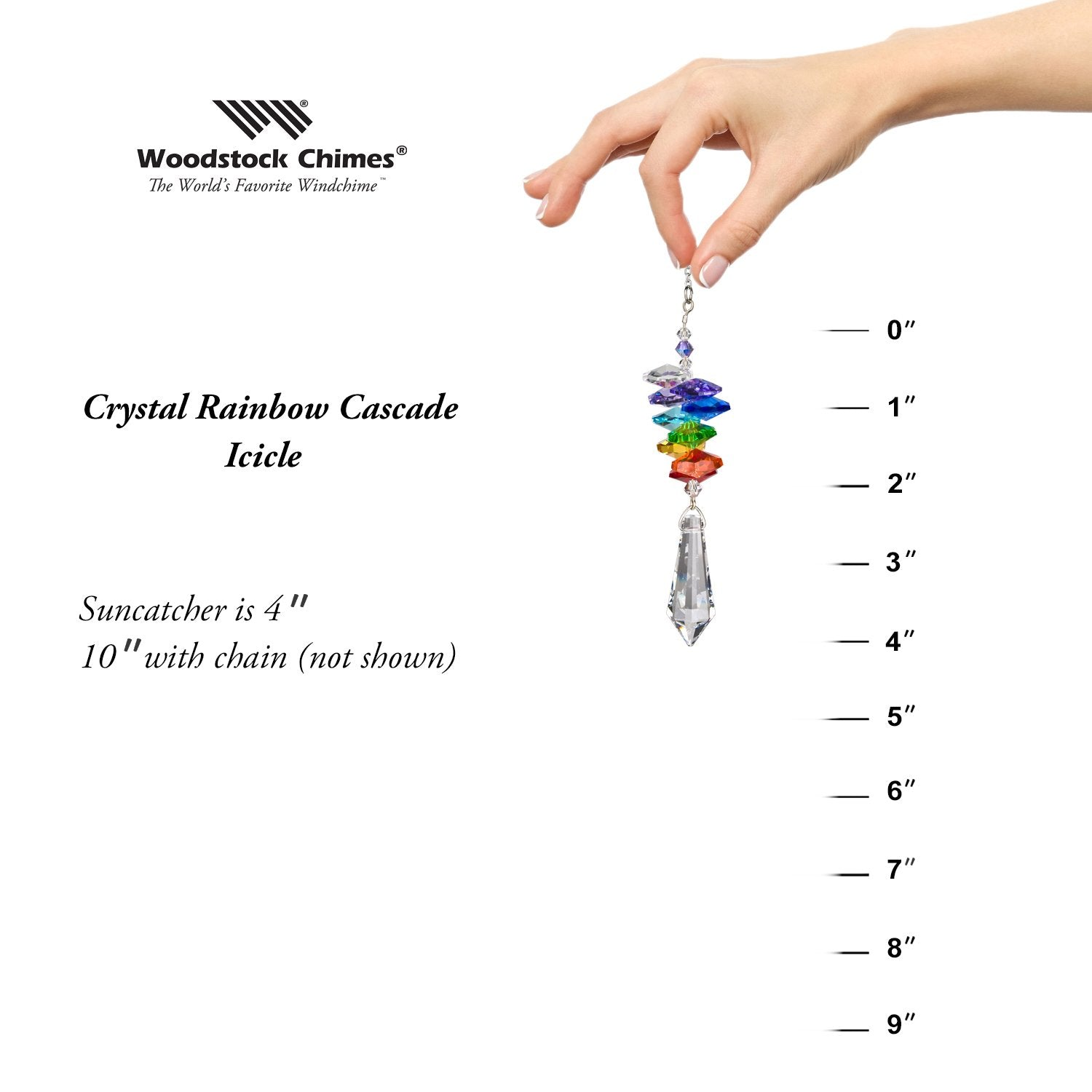 Crystal Rainbow Cascade Suncatcher - Icicle proportion image