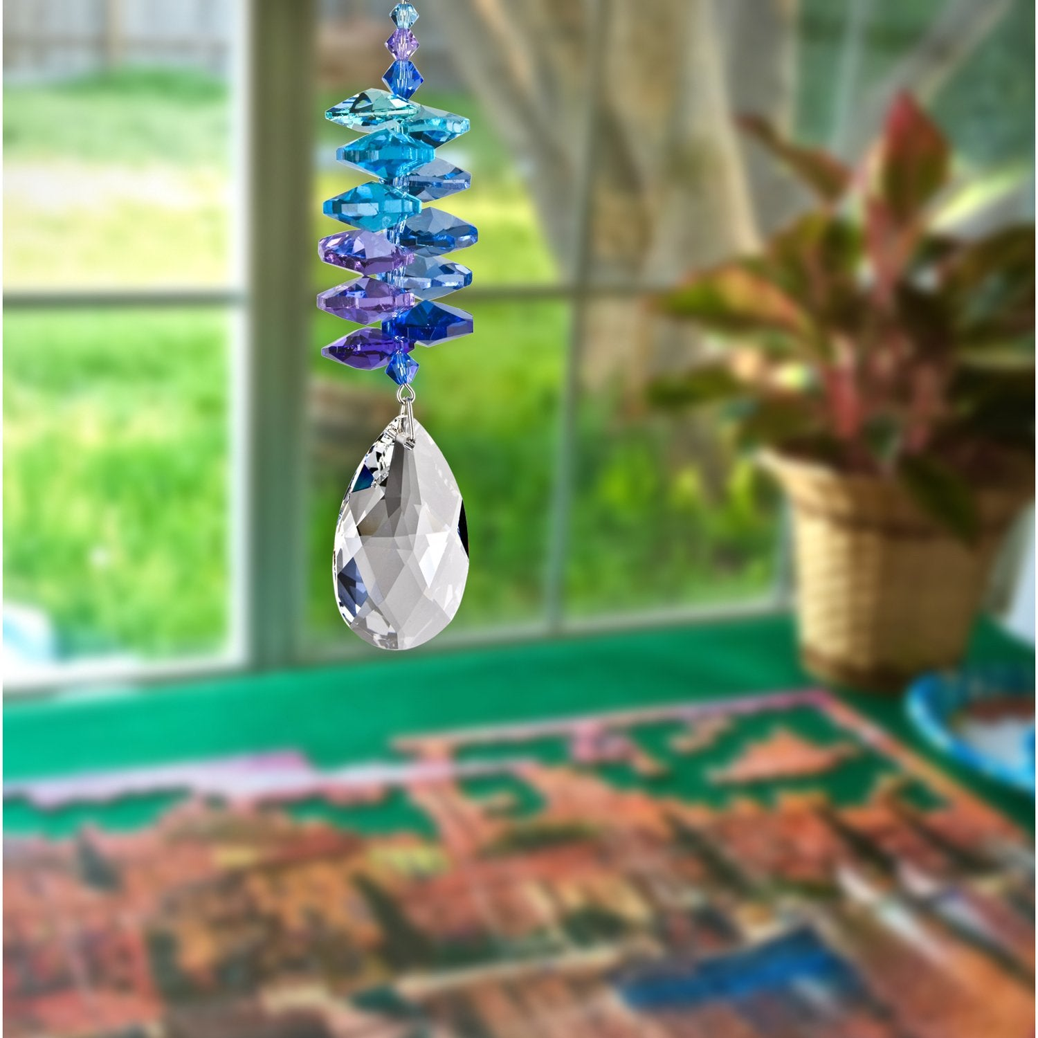 Crystal Moonlight Cascade Suncatcher - Almond lifestyle image