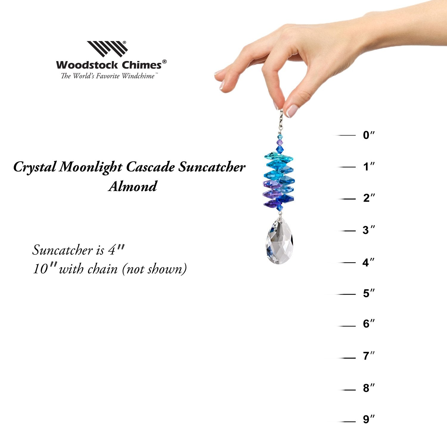 Crystal Moonlight Cascade Suncatcher - Almond proportion image