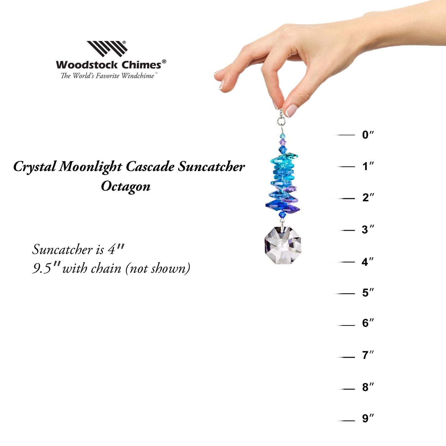 Crystal Moonlight Cascade Suncatcher - Octagon proportion image