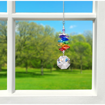Crystal Rainbow Cascade Suncatcher - Octagon proportion image