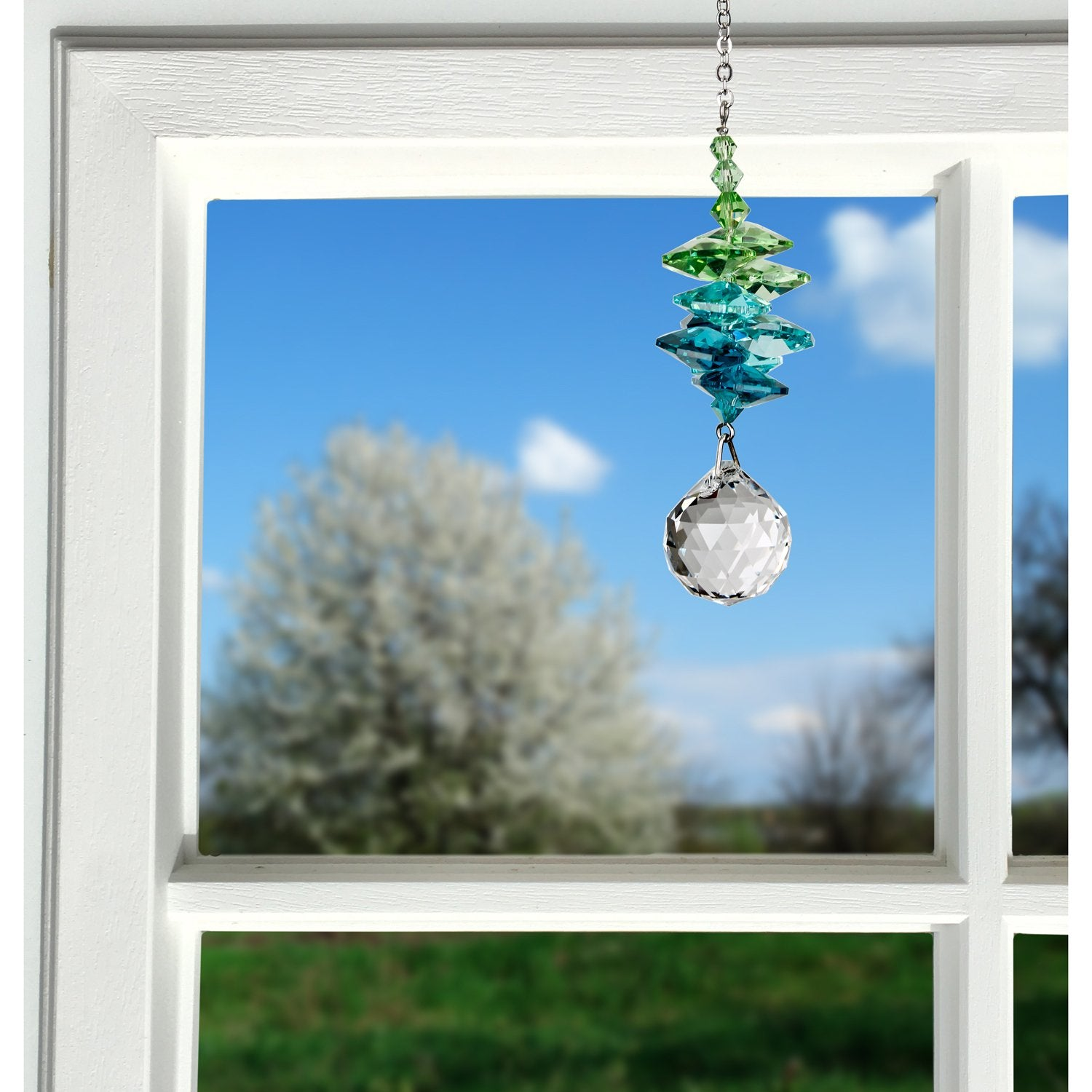 Crystal Sunrise Cascade Suncatcher - Green lifestyle image