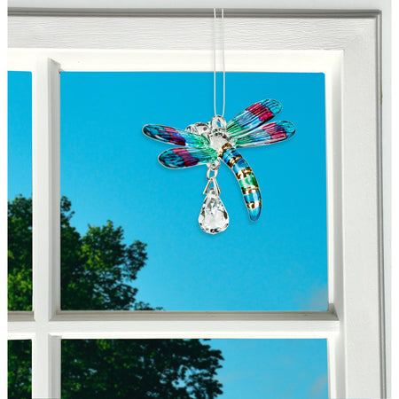 Fantasy Glass Suncatcher - Dragonfly, Spring Pastels proportion image
