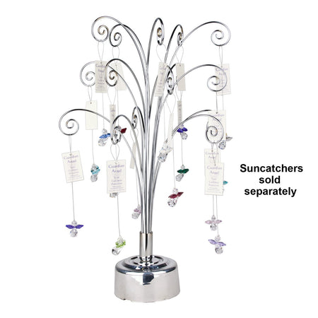 Fiddlehead Rotating Tabletop Tree - Silver image with crystal suncatchers (sold separately)