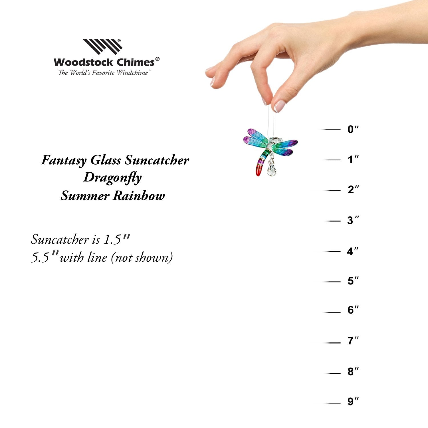 Fantasy Glass Suncatcher - Dragonfly, Summer Rainbow proportion image