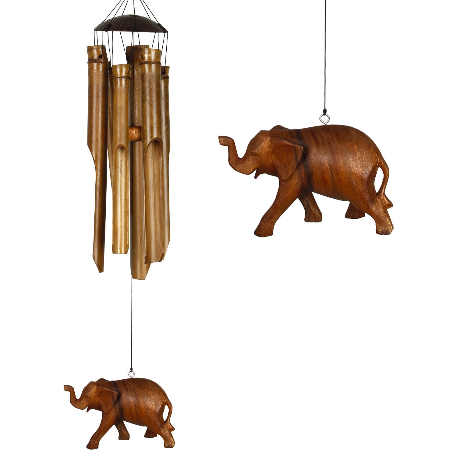 Half Coconut Bamboo Chime - Medium, Elephant main image