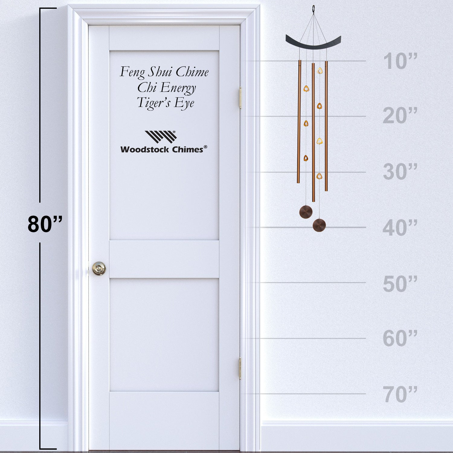 Feng Shui Chime - Chi Energy, Tiger's Eye proportion image
