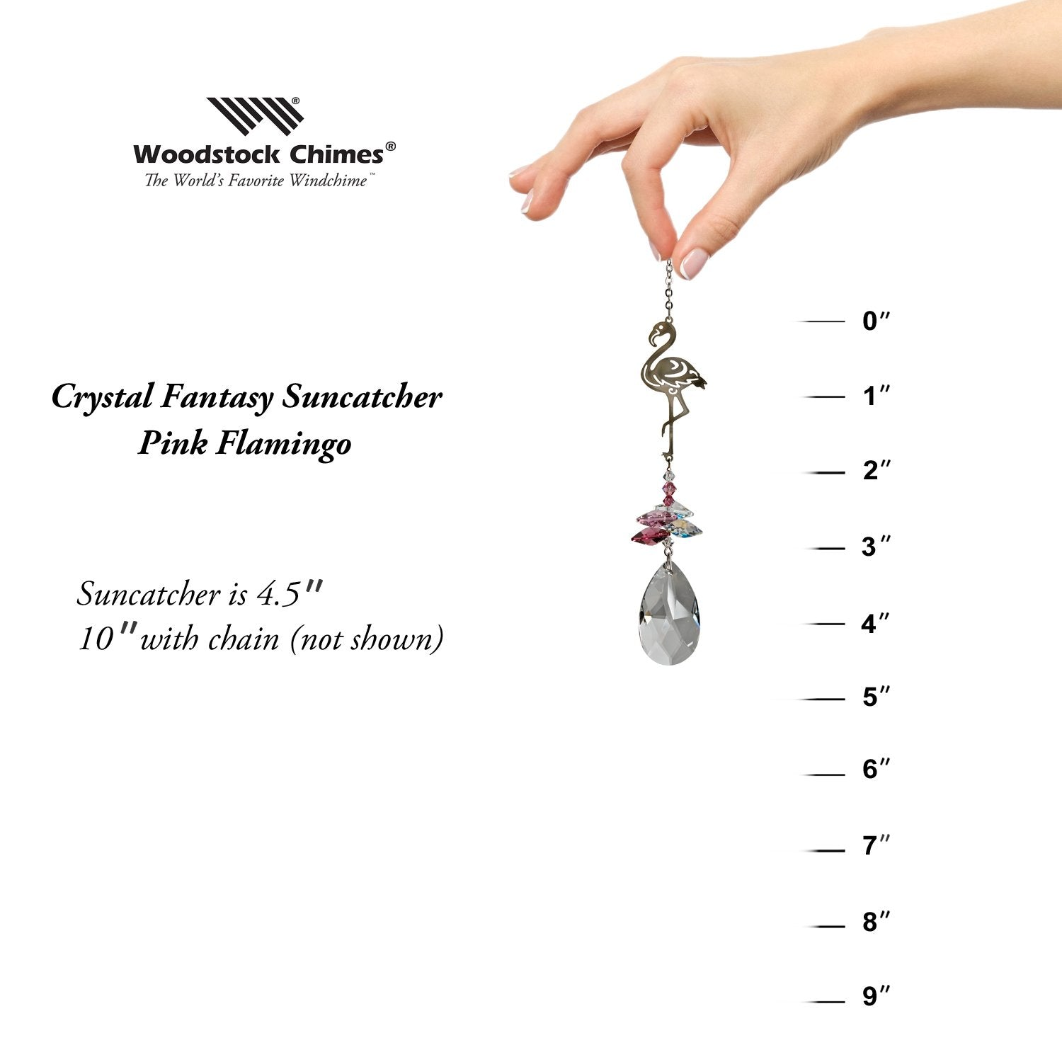 Crystal Fantasy Suncatcher - Pink Flamingo proportion image