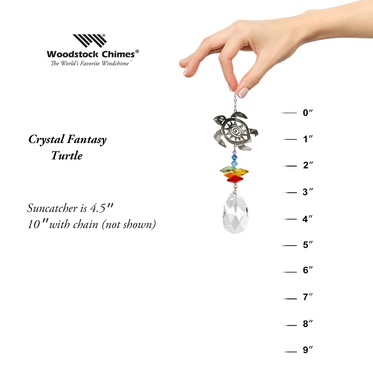 Crystal Fantasy Suncatcher - Turtle proportion image