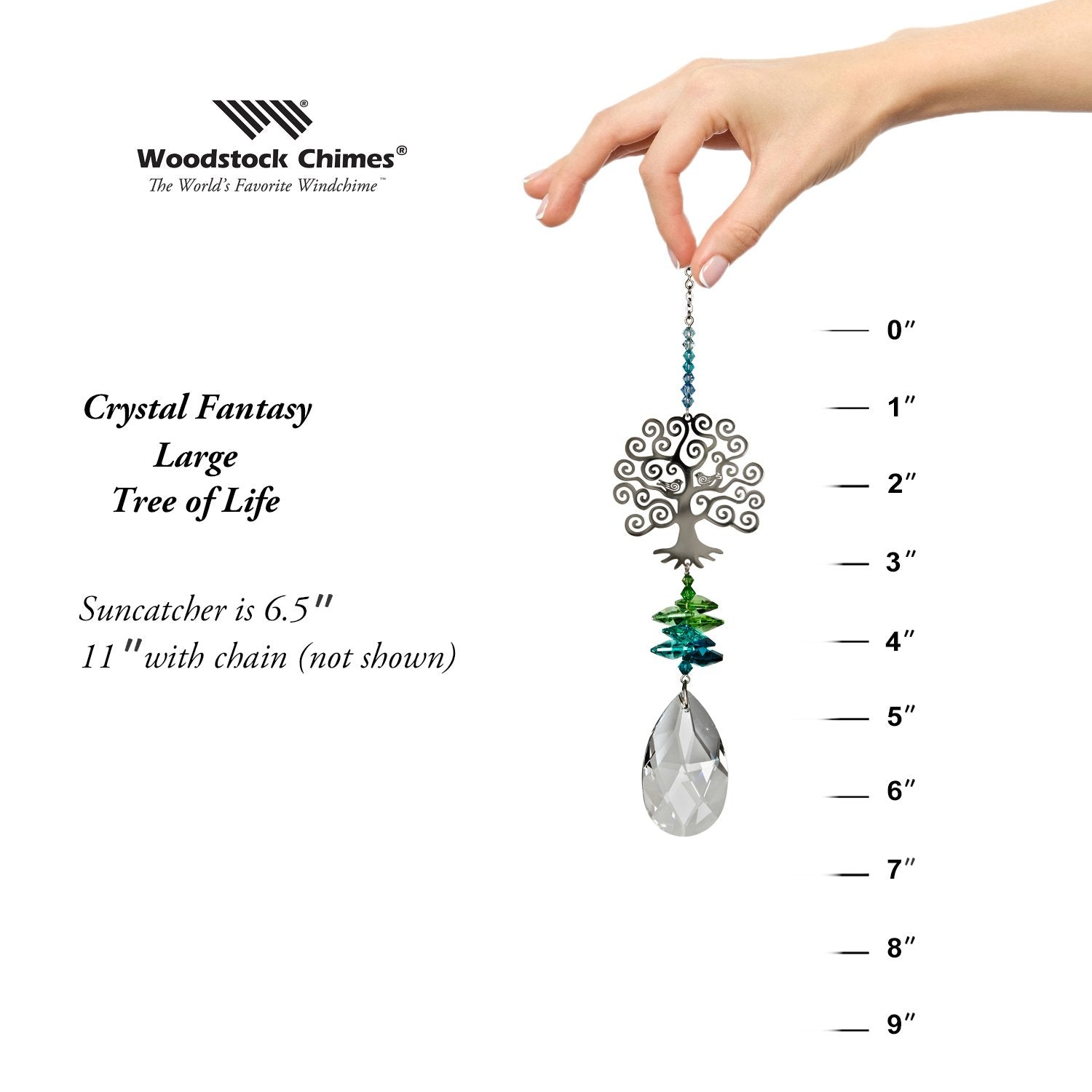 Crystal Fantasy Suncatcher - Large, Tree of Life proportion image