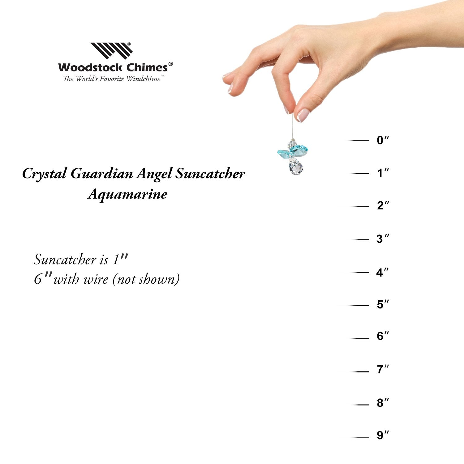Crystal Guardian Angel Suncatcher - Aquamarine (March) proportion image