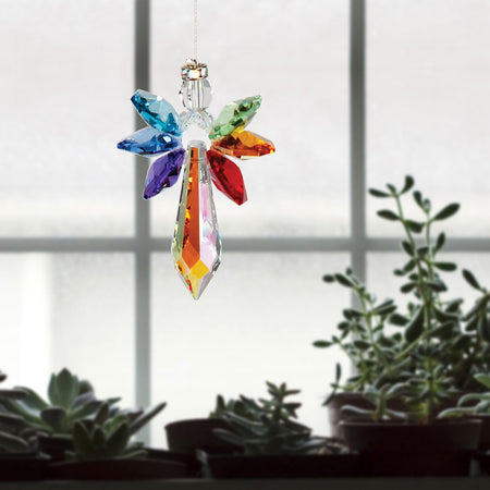 Crystal Guardian Angel Suncatcher - Large, Chakra proportion image