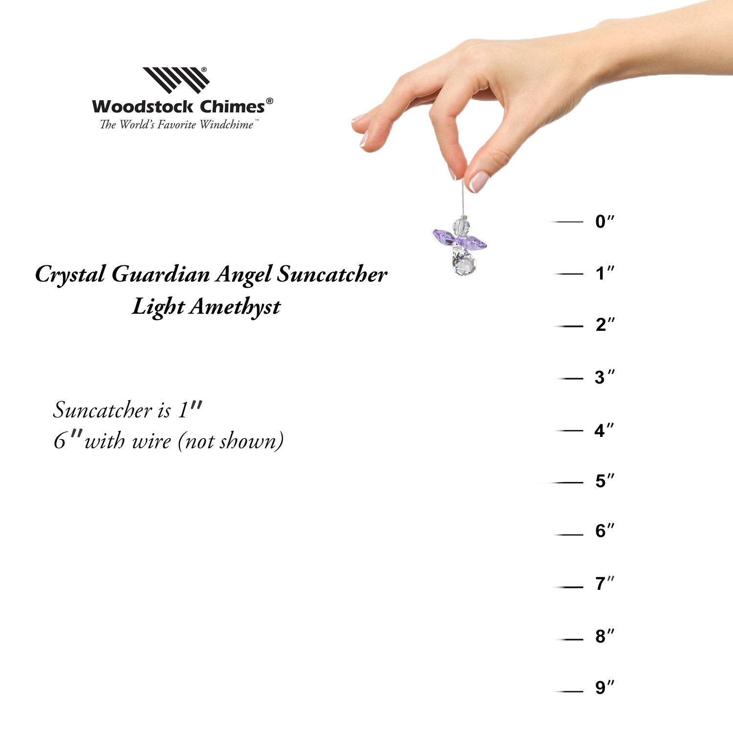 Crystal Guardian Angel Suncatcher - Light Amethyst (June) proportion image
