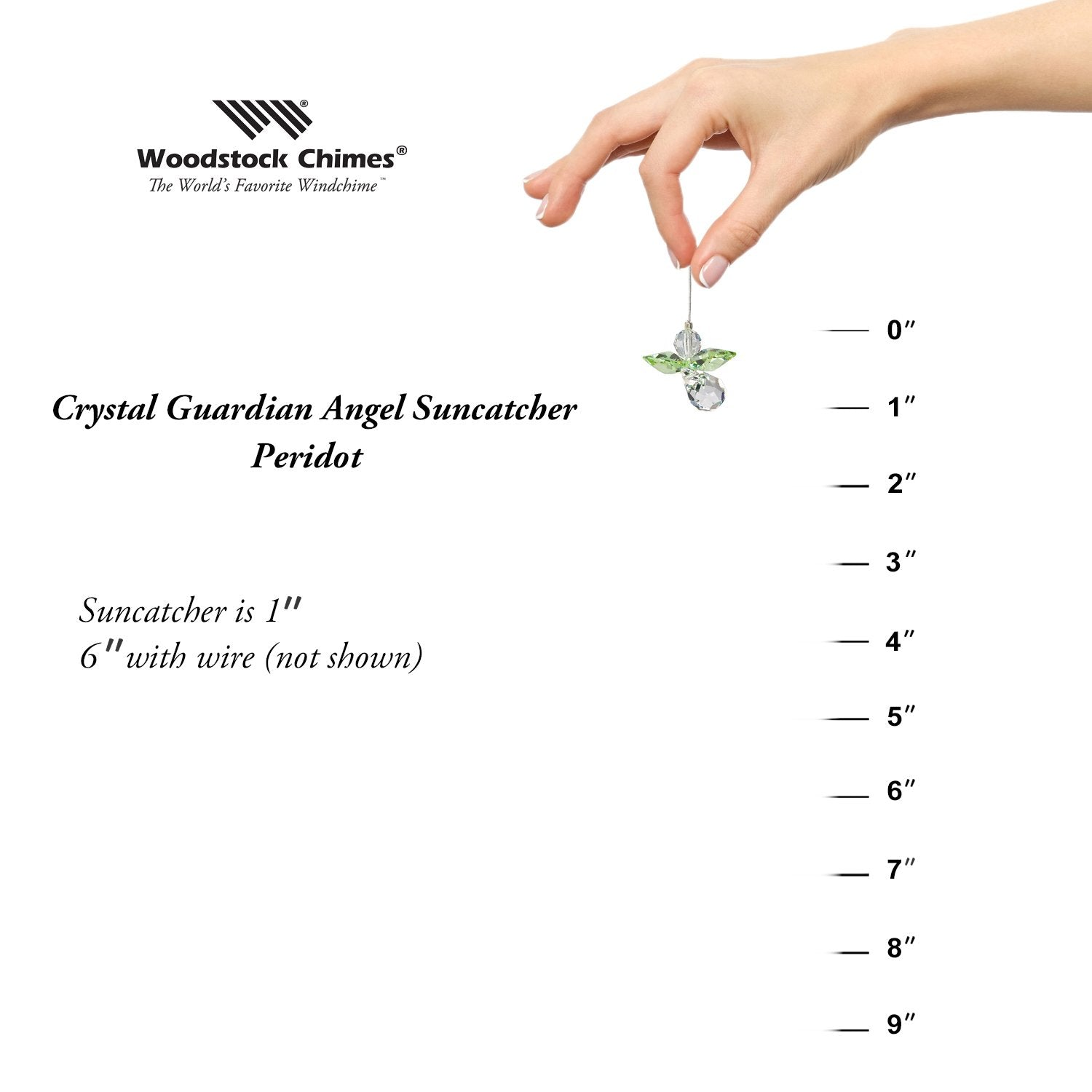 Crystal Guardian Angel Suncatcher - Peridot (August) proportion image