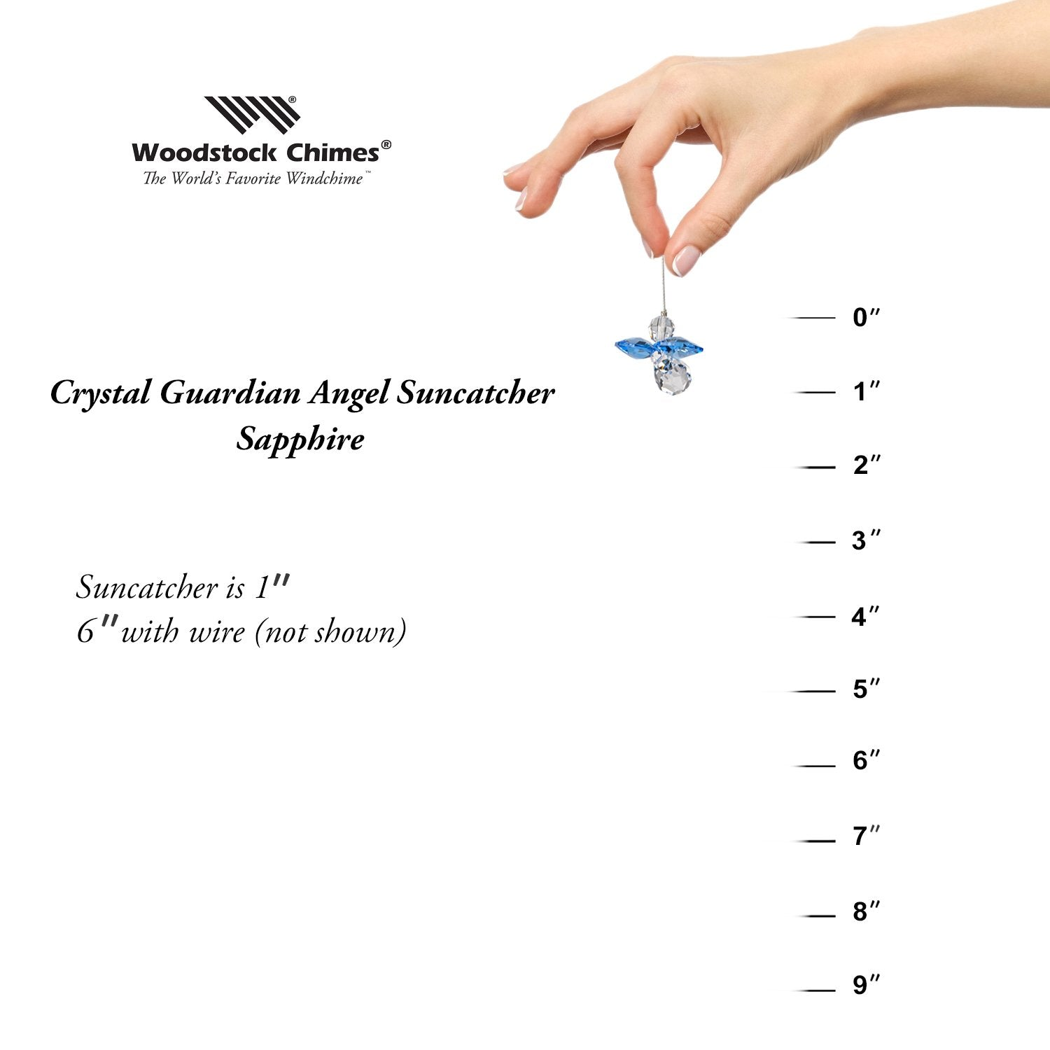 Crystal Guardian Angel Suncatcher - Sapphire (September) proportion image