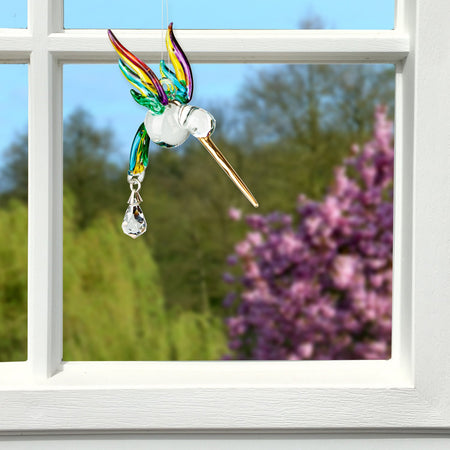 Fantasy Glass Suncatcher - Hummingbird, Spring Pastels proportion image