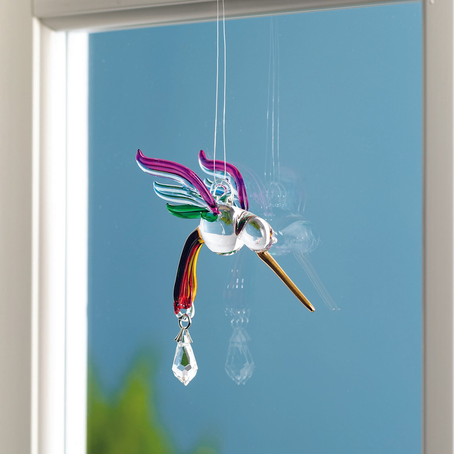 Fantasy Glass Suncatcher - Hummingbird, Summer Rainbow lifestyle image