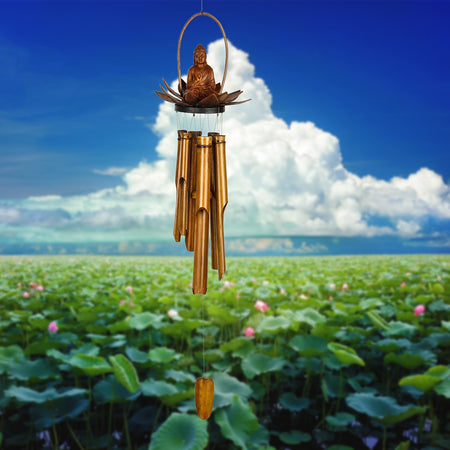 Lotus Buddha Bamboo Chime proportion image