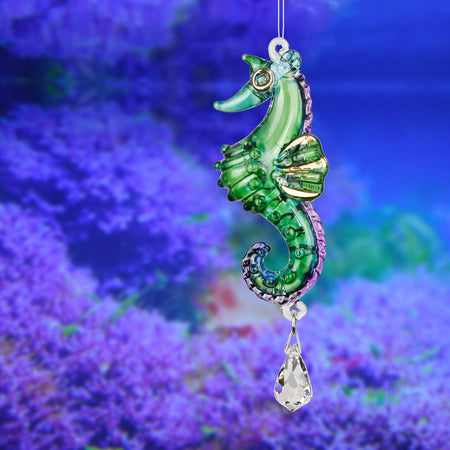 Fantasy Glass Suncatcher - Seahorse, Peacock proportion image