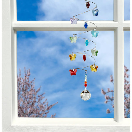 Crystal Spiral Cascade Suncatcher - Rainbow Butterflies, Small Ball proportion image