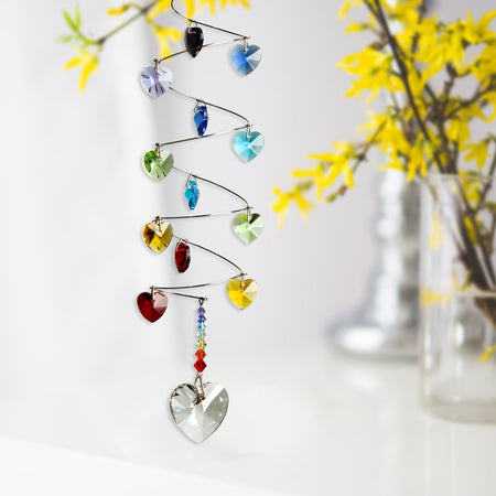 Crystal Spiral Cascade Suncatcher - Rainbow Hearts proportion image