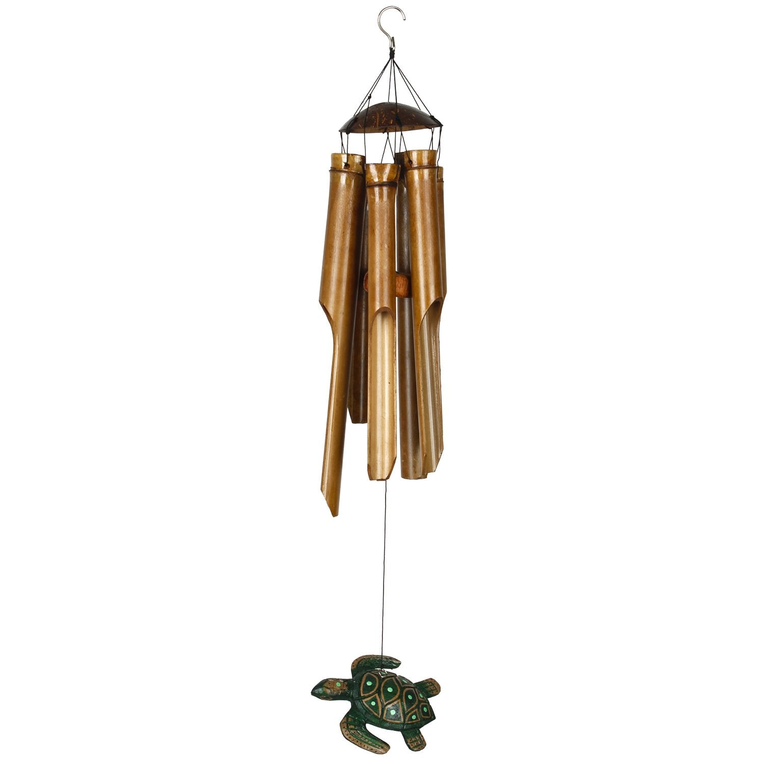 Half Coconut Bamboo Chime - Medium, Sea Turtle full product image