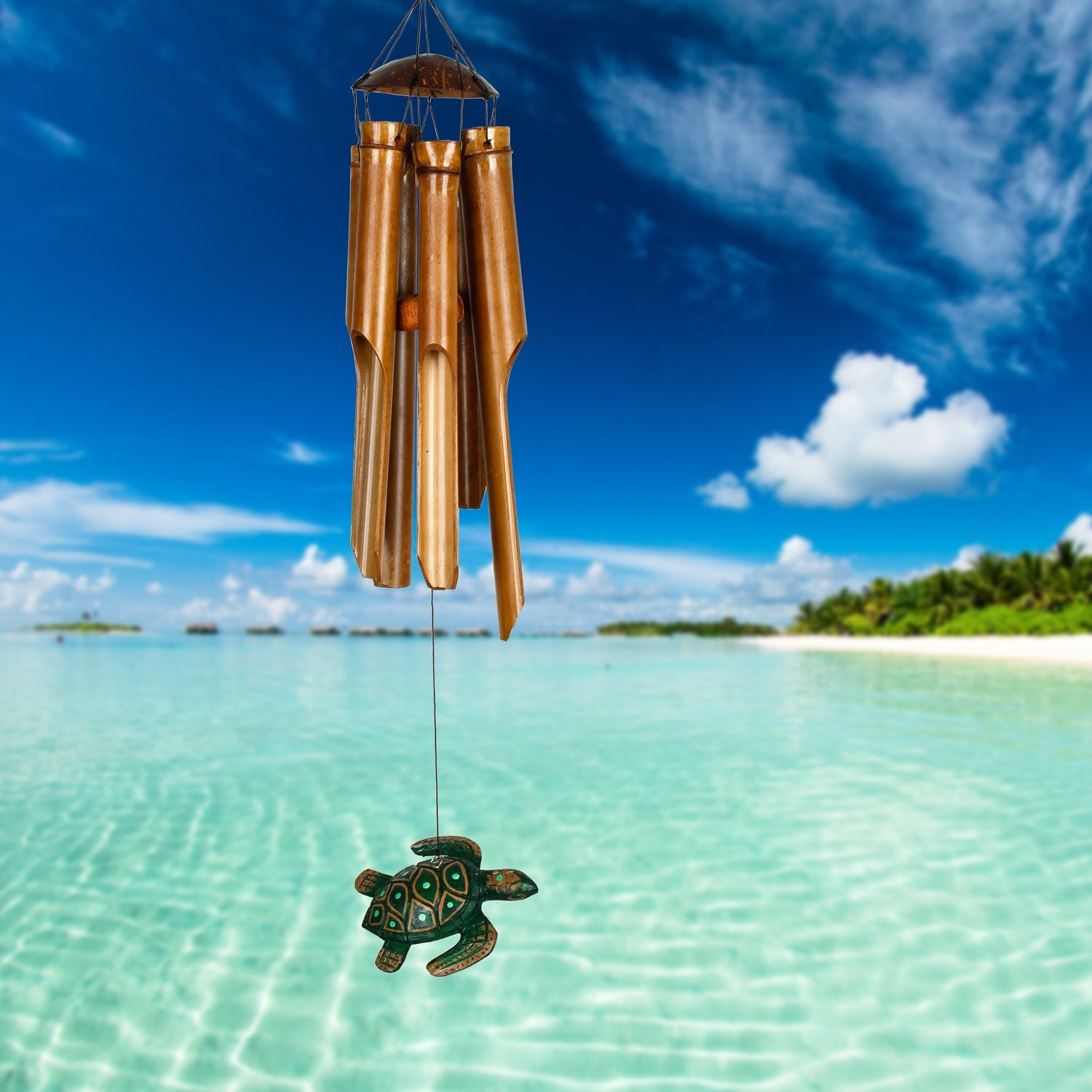 Half Coconut Bamboo Chime - Medium, Sea Turtle lifestyle image