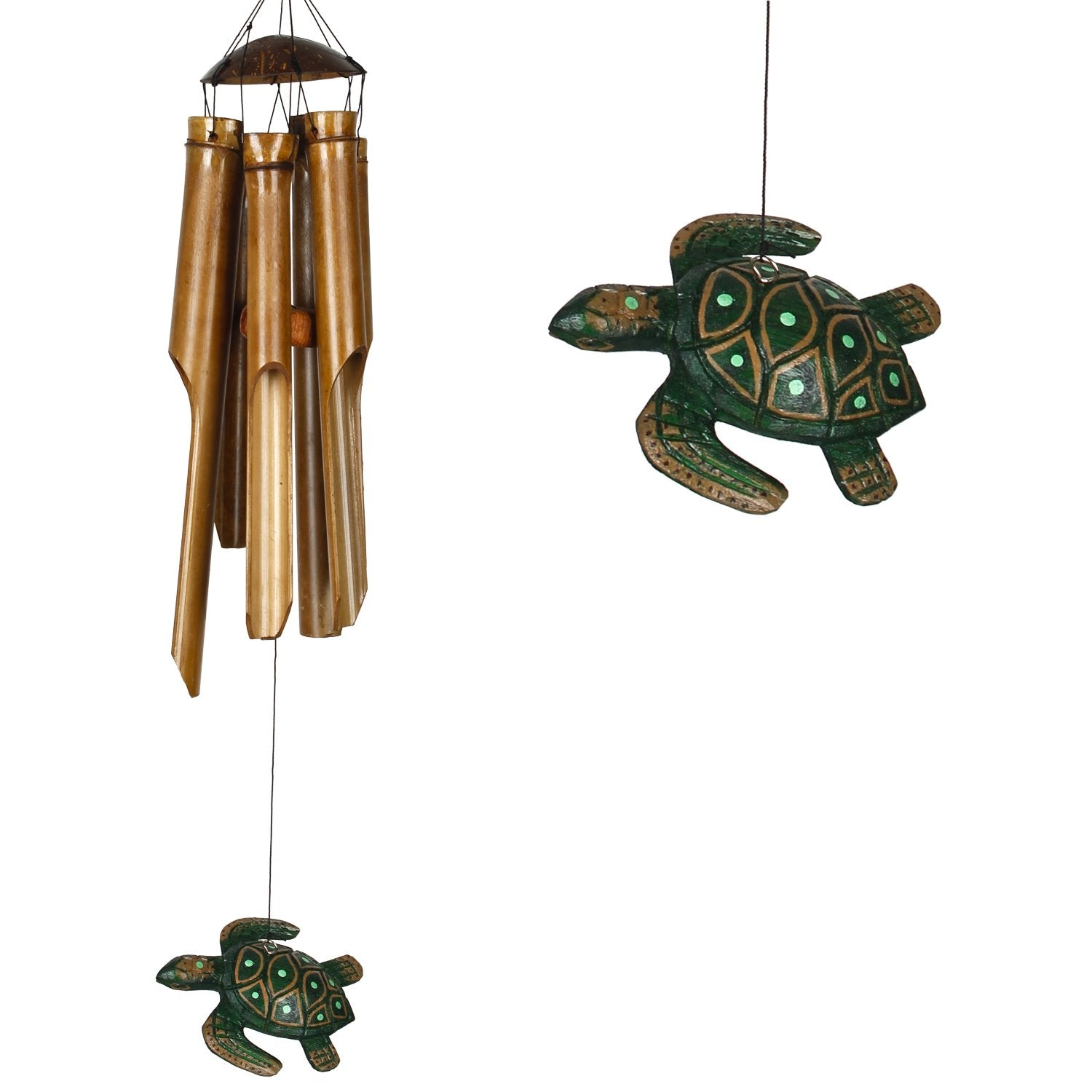 Half Coconut Bamboo Chime - Medium, Sea Turtle main image