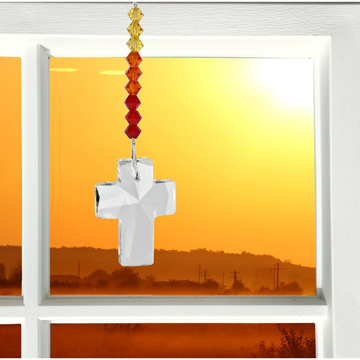 Crystal Cross Suncatcher - Sunrise lifestyle image