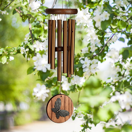 Woodstock Habitats Chime - Teak, Butterfly musical scale