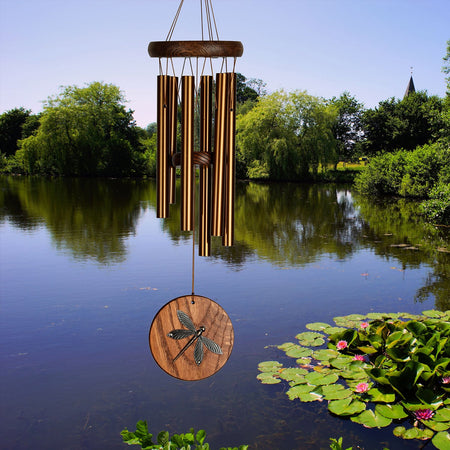 Woodstock Habitats Chime - Teak, Dragonfly musical scale