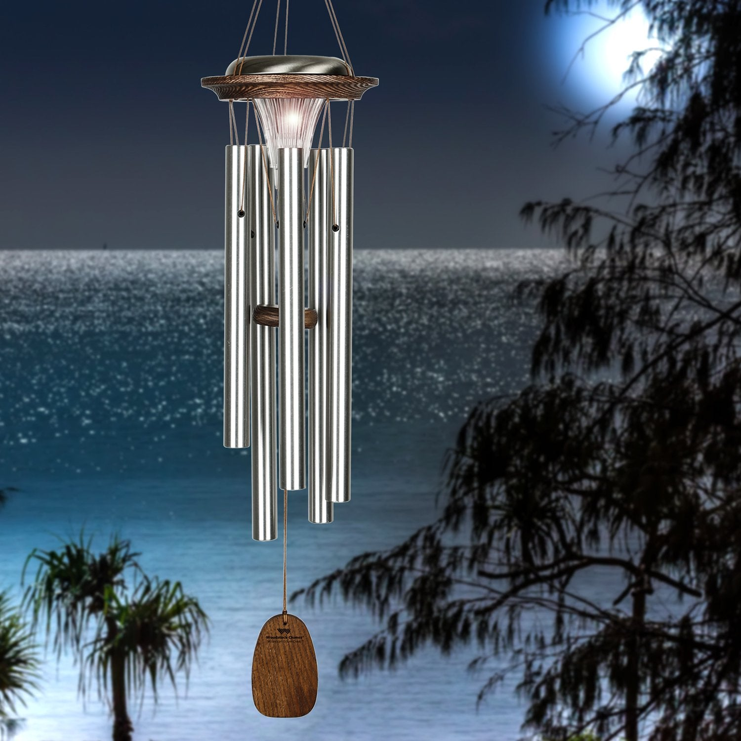 Moonlight Solar Chimes - Silver lifestyle image