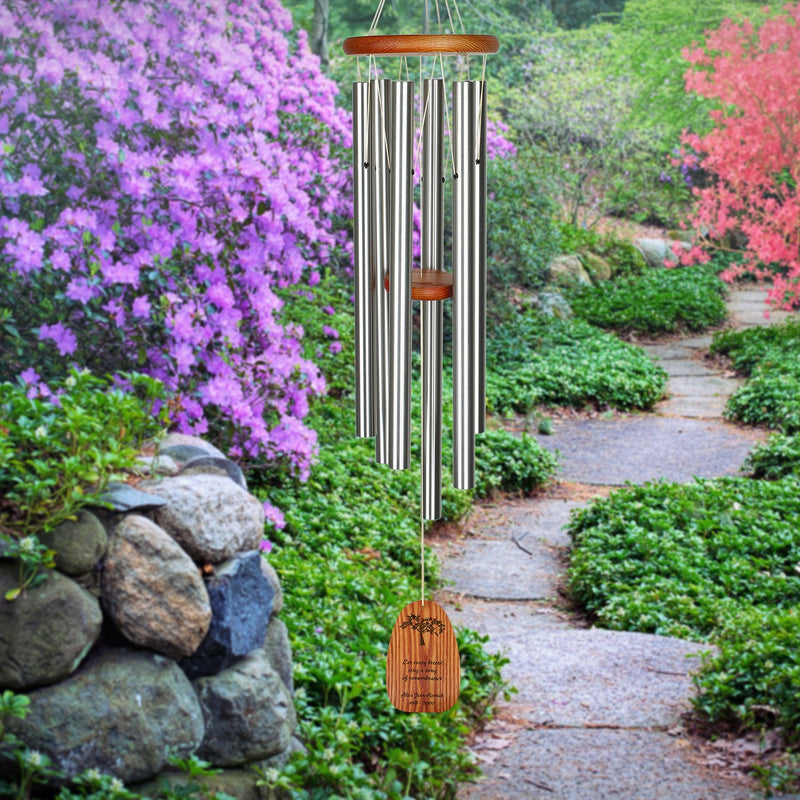 Personalize It! Sympathy Amazing Grace Chime - Large Silver, Remembrance main image