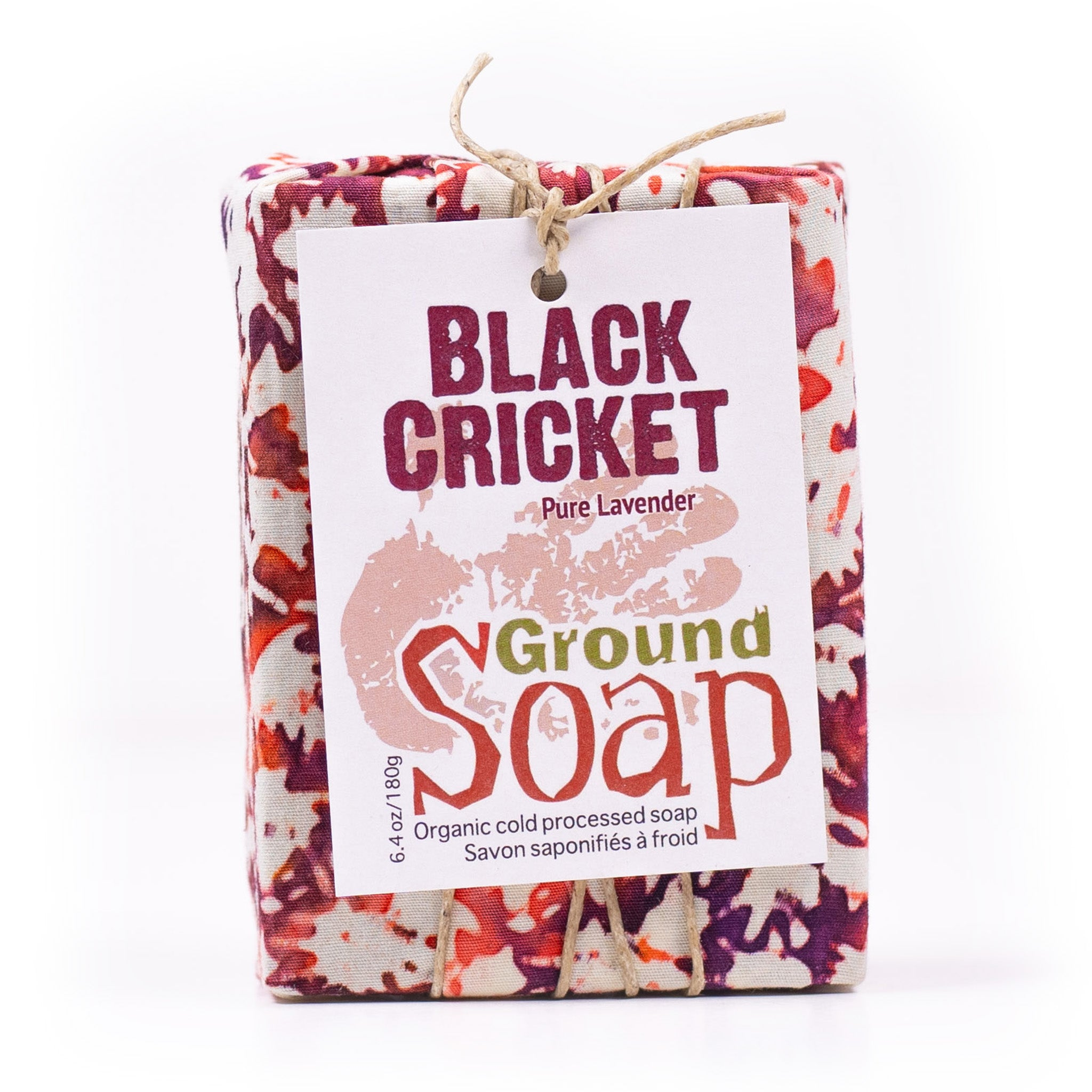 Black Cricket lavender essential oil organic bar soap from ground Soap.