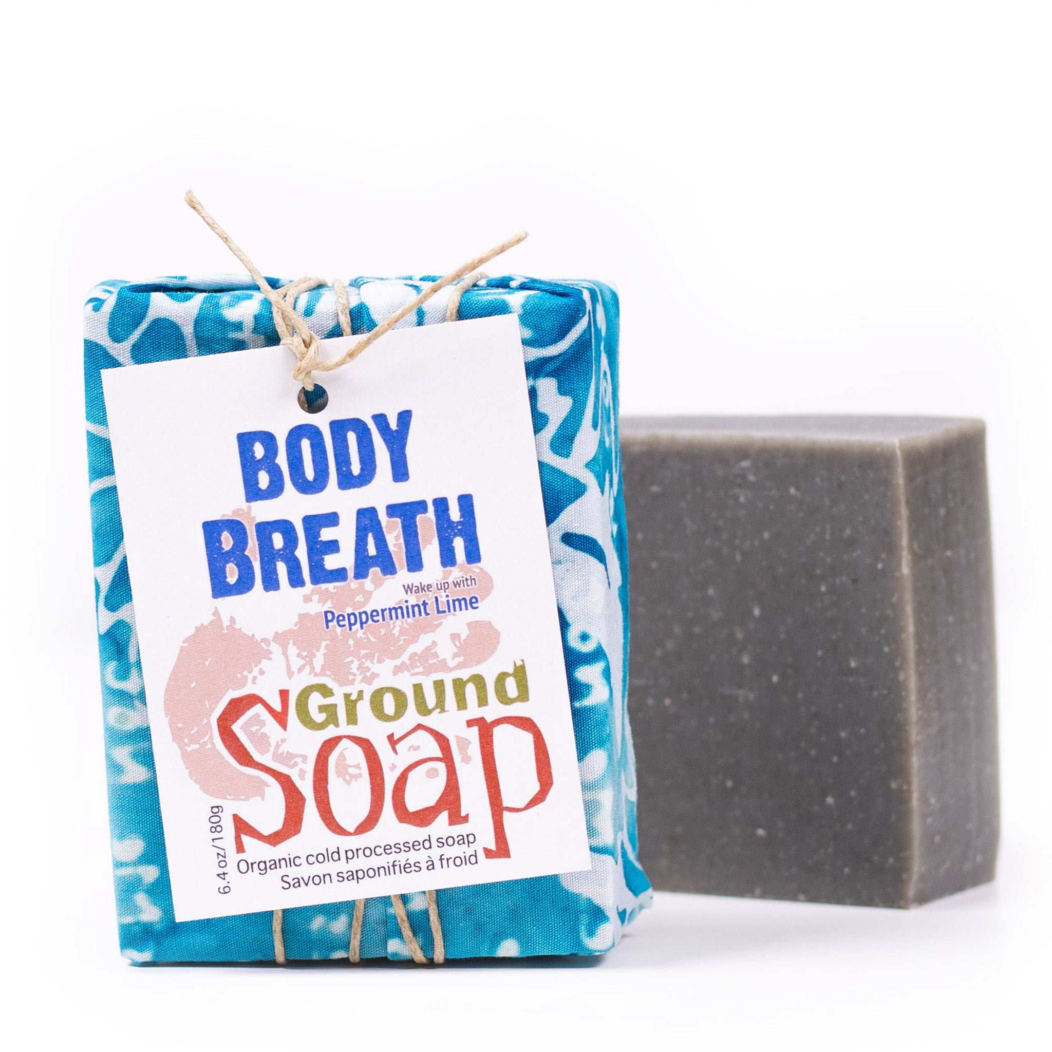 Body Breath Peppermint essential oil organic bar soap from ground Soap.
